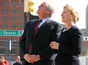 "Mayors Bill LaFortune (guided passage of Vision 2025) and Kathy Taylor during the ""topping out"" ceremony"