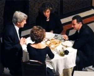 Syria's Assad and wife dine with John Kerry and his wife.