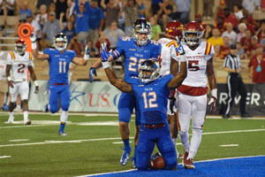 Golden Hurricane wide receiver Jordan James celebrates a touchdown against Iowa State, but officials ruled James down at the one-yard line.
