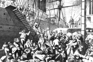 "Wikipedia Image: ""From the Old to the New World"" shows German emigrants boarding a steamer in Hamburg, to New York. Harper's Weekly, (New York) November 7, 1874."