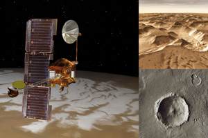 Artist concept of NASA's Mars Odyssey orbiter with actual images taken by the spacecraft