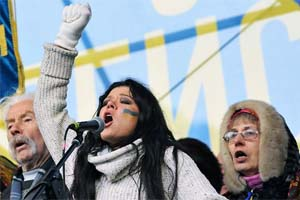 Ukrainian pop singer and winner of the 2004 Eurovision Song Contest, Ruslana Lyzhychko, talks on a stage during a rally of the opposition on the Independence Square in Kiev.