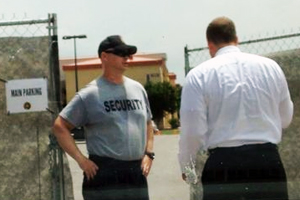 Rep. Bridenstine shown as he was refused entry at Ft. Still. Photo provided.