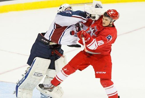 Punch by goalie in photo by Kevin Pyle
