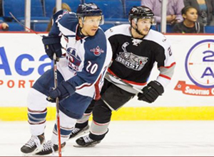 Drew Fisher (20) scored two goals against Brampton on Friday night. Photo Kevin Pyle