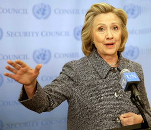 Hillary Clinton, the first presidential candidate in history to campaign while under investigation by the FBI.