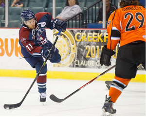 Phil Brewer (73) scored two goals on Friday night to help the Oilers top Missouri 6-4. Photo: Kevin Pyle