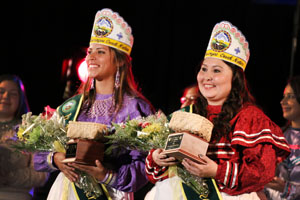 2015 Miss Muscogee (Creek) Nation Shannon Barnett (right) and Jr. Miss MCN Madeline Gouge (left) were crowned at the MCN Scholarship Pageant June 6
