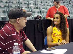 Tulsa Today Sports Editor Rich Lohman talks with Skylar Diggins. Photo: Shock