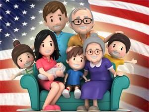 FamilyAmericanFlag