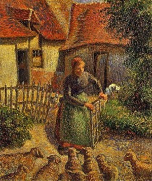 Shepherdess Bringing in Sheep