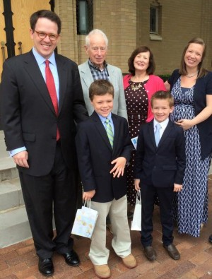G.T. Bynum, Bob LaFortune and family as the Bynum boys Robert and Jack became the fourth generation to receive their first Holy Communion at Christ the King Parish.
