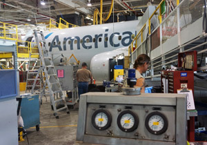 American Tulsa Maintenance Base works on Boeing 737