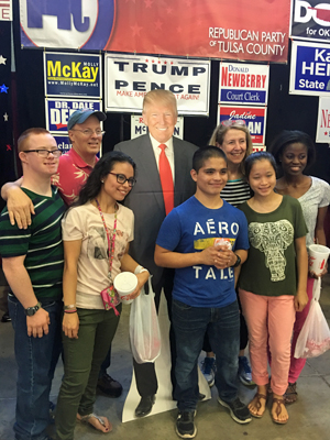 2016 Tulsa State Fair GOP booth allows visitors to take photos with a cutout of Donald J. Trump. Photo by David Arnett