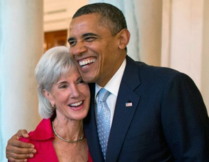 HHS Secretary Sebelius with President Obama