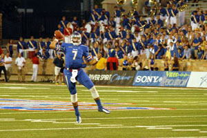 TU quarterback Cody Green throws a pass during Thursday night's game against Iowa State.  TU fell to the Cyclones, 38-21.