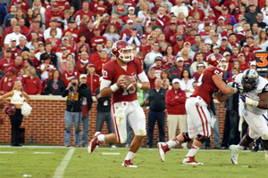 OU quarterback Blake Bell looks to throw during Saturday night's game against TCU