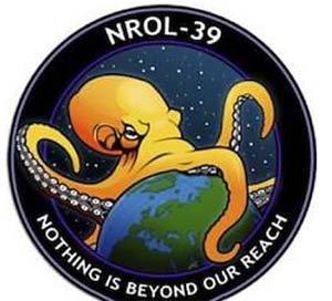 The logo for the latest secret mission by the National Reconnaissance Office has raised a few eyebrows.(NRO)