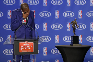 Kevin Durant during a news conference announcing him as the winner of the 2013-14 Kia NBA Basketball Most Value Player Award in Oklahoma City, Okla. on Tuesday, May 6, 2014. Photo Courtesy The Oklahoman