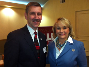 Steven Kunzweiler with Gov. Mary Fallin at a recent Young Republican Meeting
