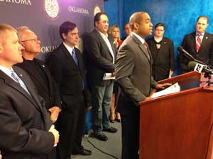 10 Oklahoma legislators held a press briefing at the state Capitol with Jonathan Small of the Oklahoma Council of Public Affairs to discuss how much an OK Supreme Court ruling applying State Question 640 -- OK's tax limitation measure, passed by voters in 1992 -- to tax reductions would cost citizens.