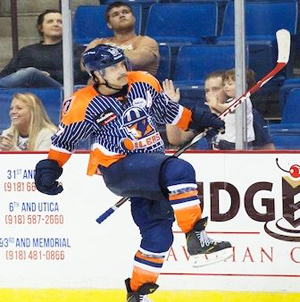 Oilers forward Jon Booras celebrates one of two goals against Wichita Sunday.  Photo by Kevin Pyle