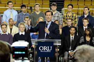 Rick Santorum at a campaign stop at Oral Roberts University