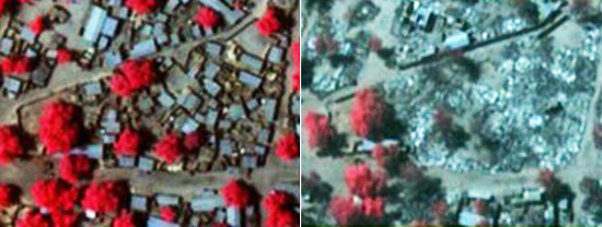 Before and after pictures of attacks on towns in Nigeria