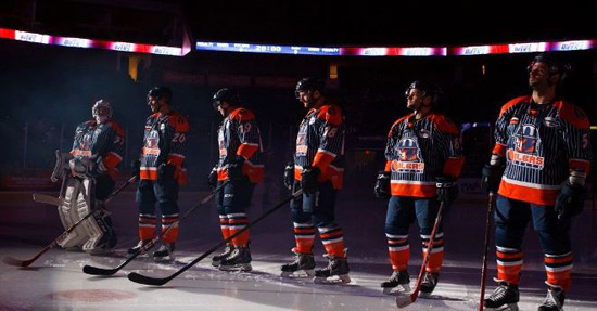 The Oilers prepare to do battle. Photo: Kevin Pyle