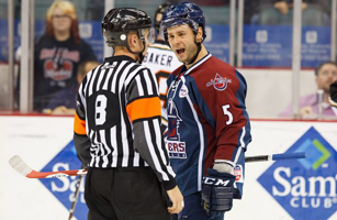 Dave Pszenyczny argues with referee Brett Silva after his apparent goal was disallowed on Saturday night against Quad City.