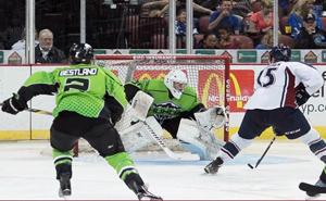 Kyle Bochek roars in on the Wichita goal on Saturday in Wichita. Photo Ed Bailey, Pro Hockey News