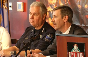TPD Chief Chuck Jordan and Tulsa County DA Steven Kunzweiler. Photo from KOTV, NewsOn6.com