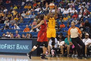 Riquna Williams lines up a three-pointer.