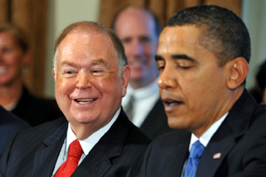 David Boren (left) served 4 years as governor and 15 years in the U.S. Senate all as a Democrat before being appointed the University of Oklahoma in 1994. He also served for nearly a decade on Yale's Board of Trustees.