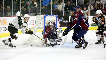 Kevin Carr shuts down the Oilers net in a 1-0 shutout of Quad City on Friday.