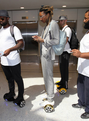 Rapper Wiz Khalifa and his entourage on hoverboards in LA.Photo: Splash News