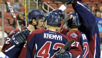 Jordan Kremyr and his teammates celebrate a goal in Wichita on Saturday.