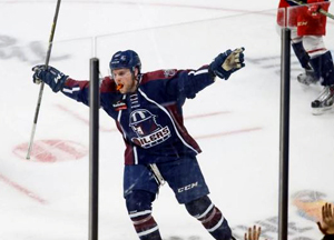 DanDeSalvo celebrates the game winner Tuesday night against the Allen Americans. Photo by Kevin Pyle