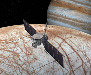 This artist's rendering shows NASA's Europa mission spacecraft, which is being developed for a launch sometime in the 2020s. This view shows the spacecraft configuration, which could change before launch, as of early 2016. The mission would place a spacecraft in orbit around Jupiter in order to perform a detailed investigation of the giant planet's moon Europa -- a world that shows strong evidence for an ocean of liquid water beneath its icy crust and which could host conditions favorable for life. The highly capable, radiation-tolerant spacecraft would enter into a long, looping orbit around Jupiter to perform repeated close flybys of Europa.  The concept image shows two large solar arrays extending from the sides of the spacecraft, to which the mission's ice-penetrating radar antennas are attached. A saucer-shaped high-gain antenna is also side mounted, with a magnetometer boom placed next to it. On the forward end of the spacecraft (at left in this view) is a remote-sensing palette, which houses the rest of the science instrument payload.
