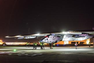 Solar Impulse lands in Tulsa. Photos provided