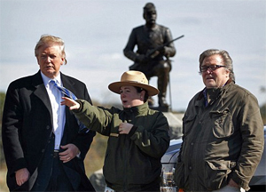 Trump stopped at the Gettysburg National Military Park after his speech, speaking with Park ranger Caitlin Kostic (center) and campaign CEO Steve Bannon (right) near 'Cemetery Ridge' where Confederate general Robert E. Lee ordered the attack known as Pickett's Charge. Photo: AP/DailyMail
