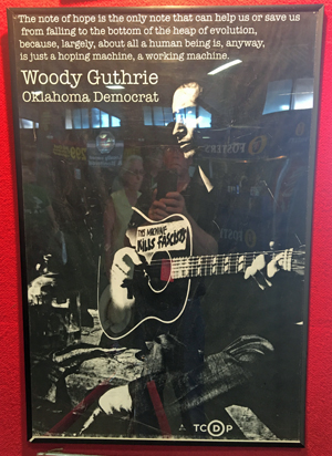 Woody Guthrie display at the Tulsa State Fair. Photo by David Arnett