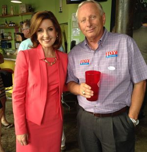 This photo of Joy Hofmeister and Lloyd Snow used in the campaign mailer was found on Google as a Tulsa World photo.