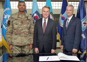 General Vincent Brooks, Senator Lankford and Rep. Russell in South Korea